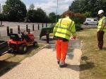 Resin bonded gravel being applied at kidbrooke park